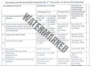 uniuyo first semester calendar