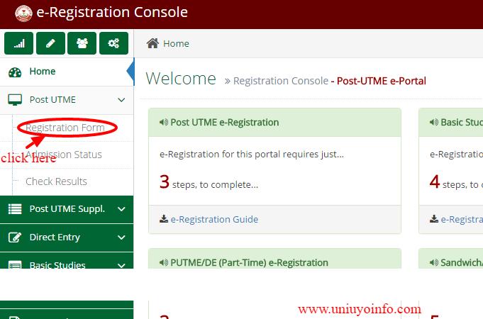 uniuyo registration form