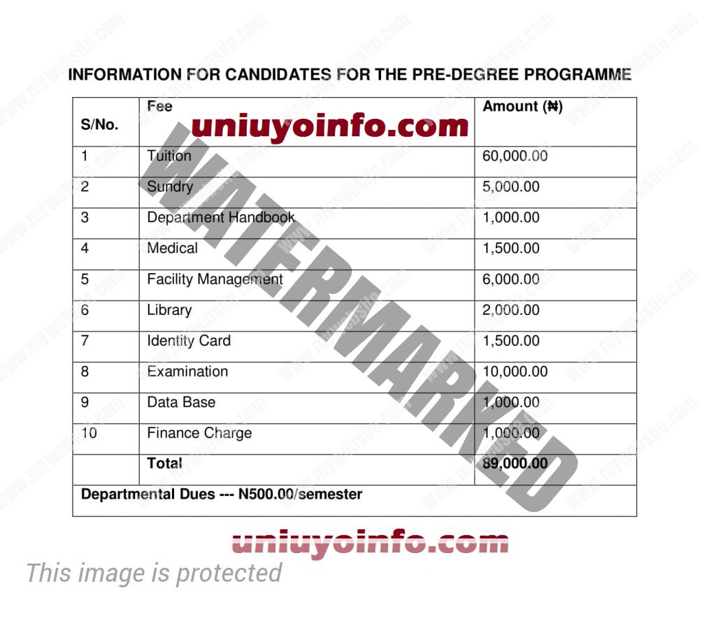 uniuyo predegree school fees