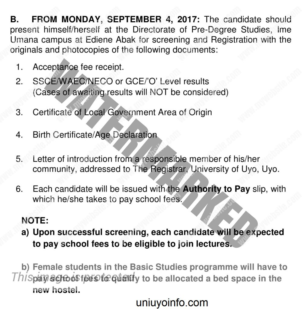 Uniuyo Basic studies screening requirements 2