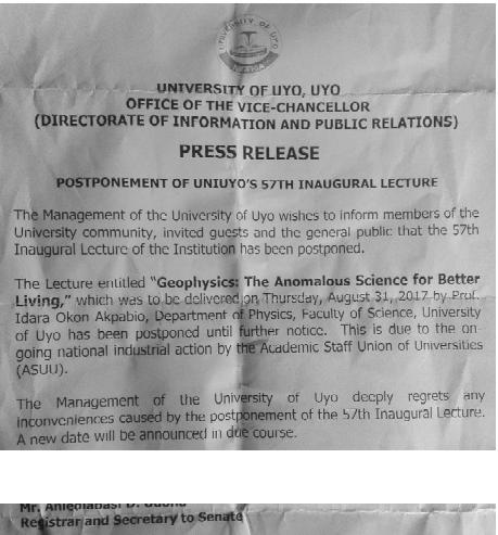 University of Uyo postpones 57th Inaugural lecture