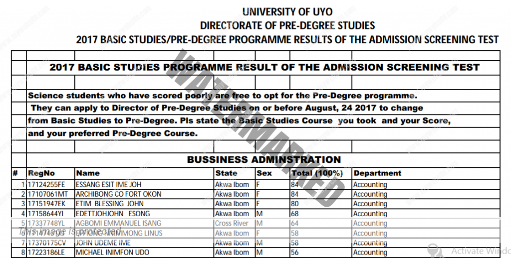 Uniuyo 2017 Predegree and Basic Studies Screening Results