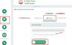 get uniuyo post utme login details