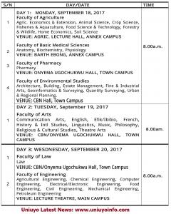 uniuyo post utme 2017 timetable