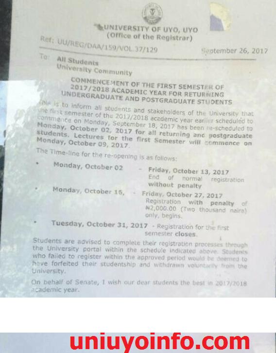 uniuyo 2017 2018 resumption announcement