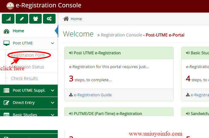 uniuyo registration form
