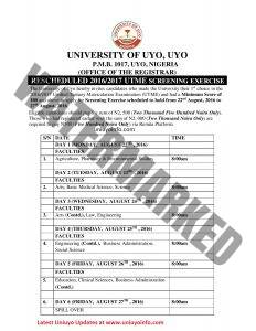 uniuyo 2016 screening timetable