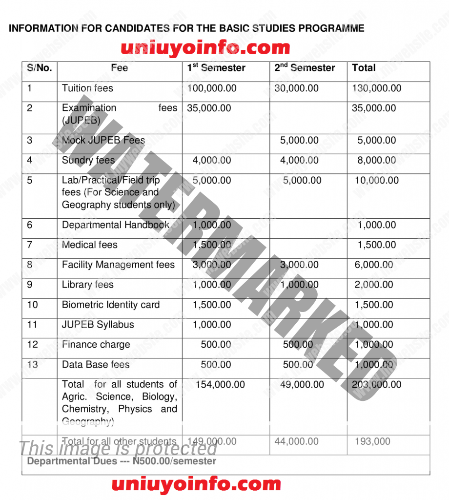 uniuyo 2016 basic studies school fees