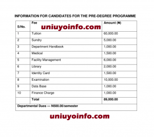 uniuyo predegree school fees