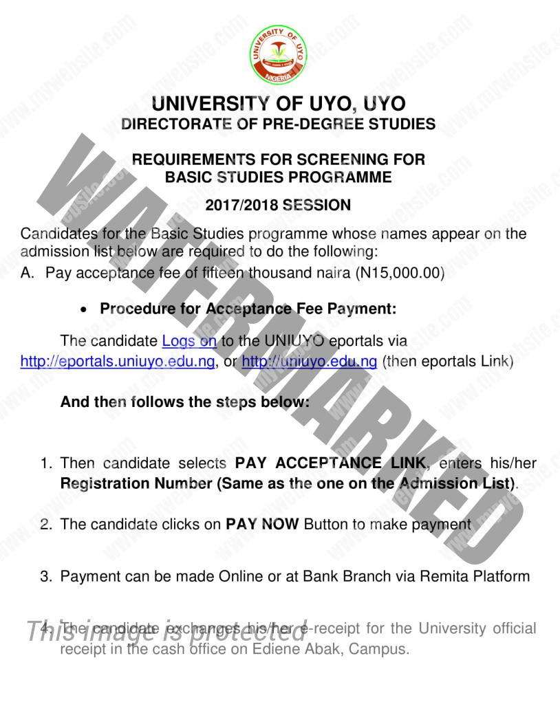 Uniuyo Basic studies screening requirements