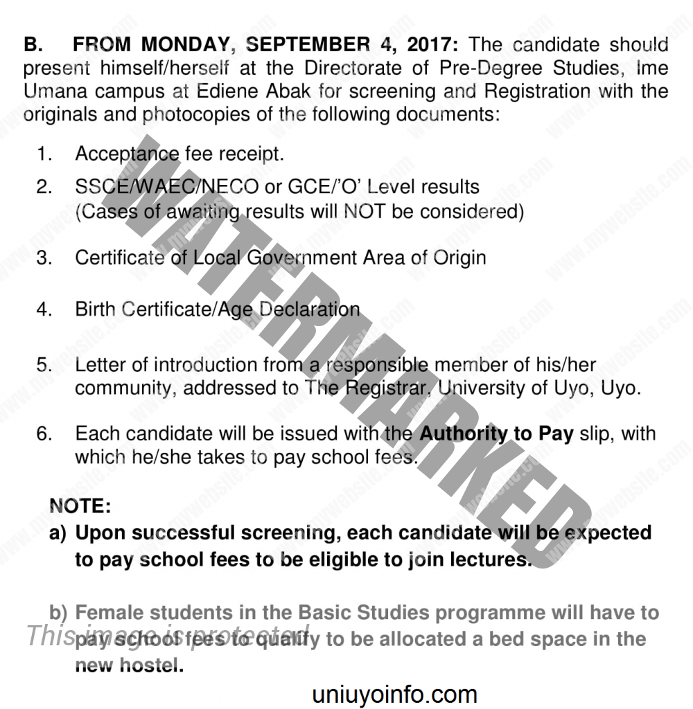 Uniuyo Basic studies screening requirements 2