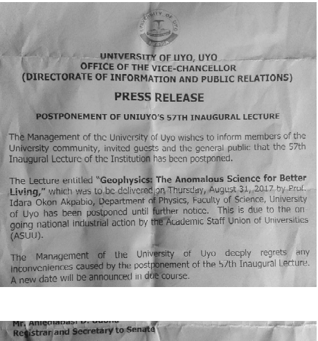 University of Uyo postpones 57th Inaugural lecture