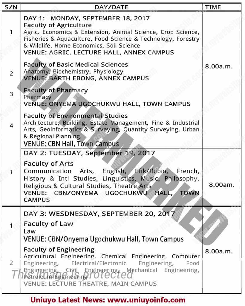 uniuyo post utme 2017 timetable