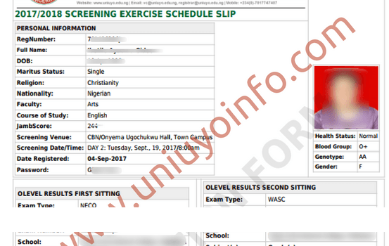 uniuyo screening exercise schedule slip